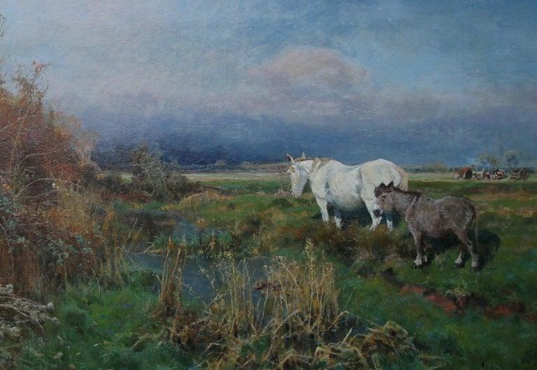 Nottingham Landscape - British 19thC art white horse oil painting equine art For Sale 2