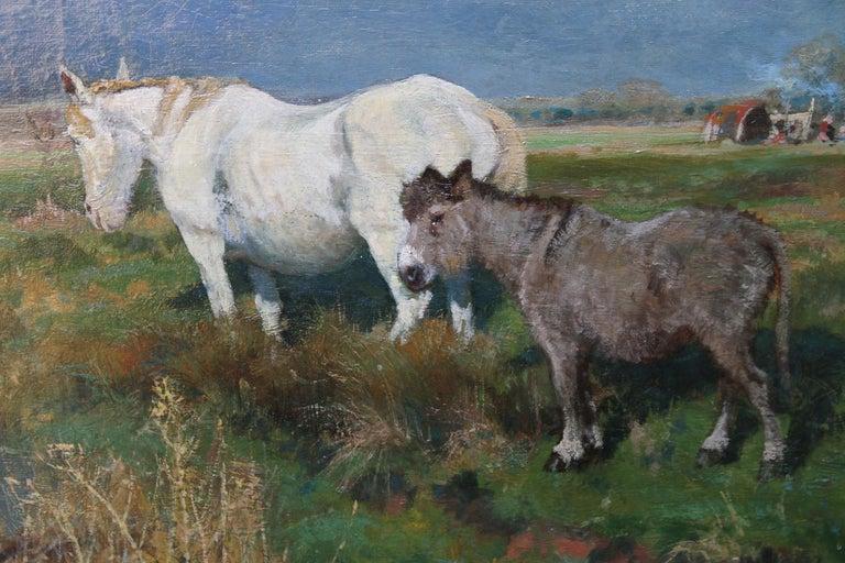 Nottingham Landscape - British 19thC art white horse oil painting equine art For Sale 4