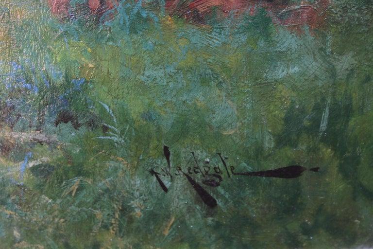 Nottingham Landscape - British 19thC art white horse oil painting equine art For Sale 6