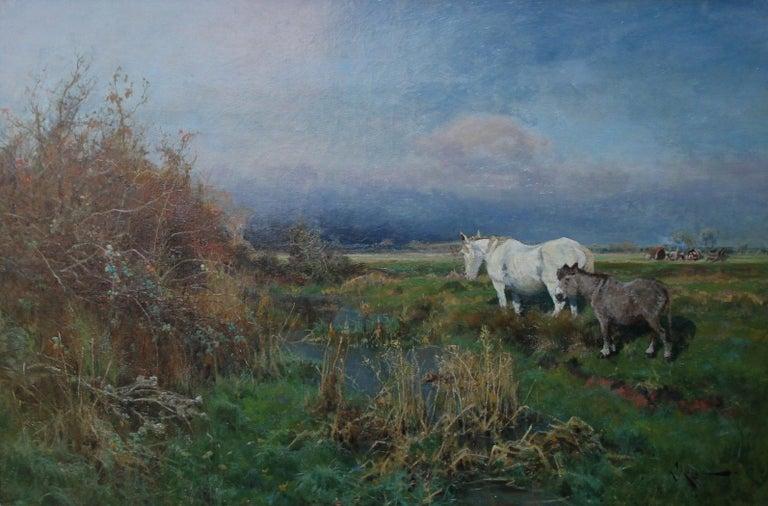 Nottingham Landscape - British 19thC art white horse oil painting equine art For Sale 8