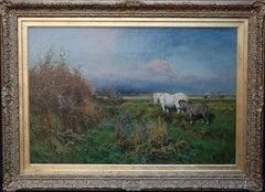 Nottingham Landscape - British 19thC art white horse oil painting equine art