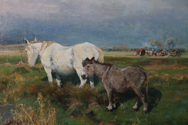 Nottingham Landscape with horse - British 1900 animal oil painting equine art - Gray Animal Painting by Arthur William Redgate