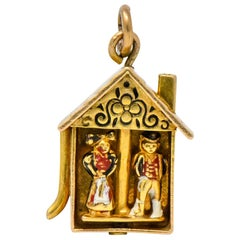 Articulated Art Nouveau Enamel 14 Karat Gold Dutch 'Speelklok' Clock Charm