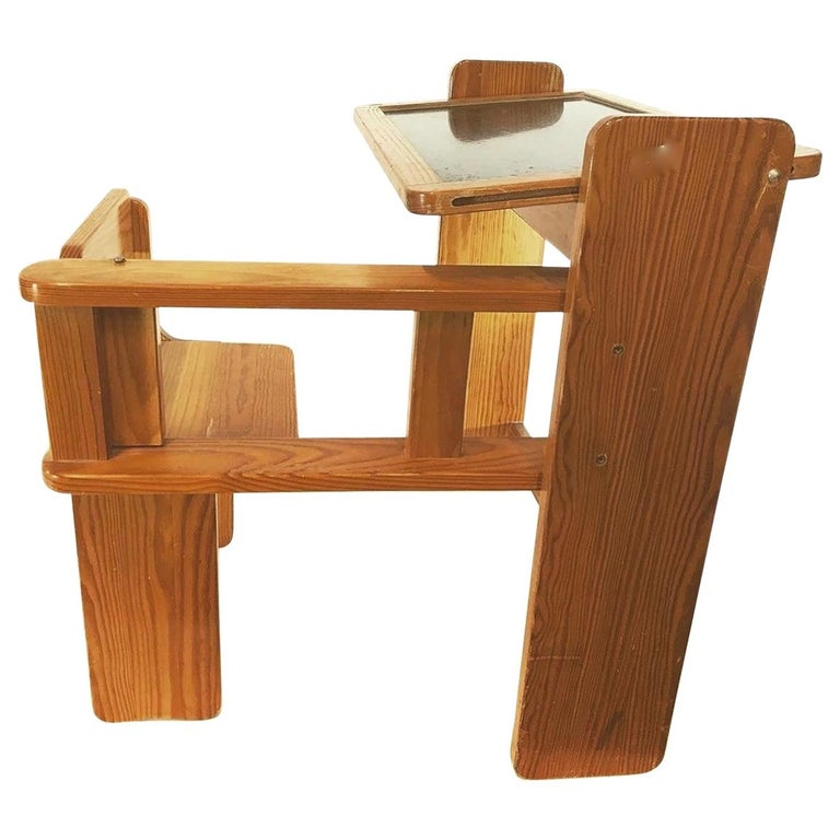 Articulated Children's Desk with its Integrated Pine Seat, 1970 For Sale