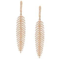 Articulated Diamond Drop Feather Earrings in 18 Karat Rose Gold
