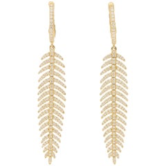 Articulated Diamond Drop Feather Earrings in 18 Karat Yellow Gold