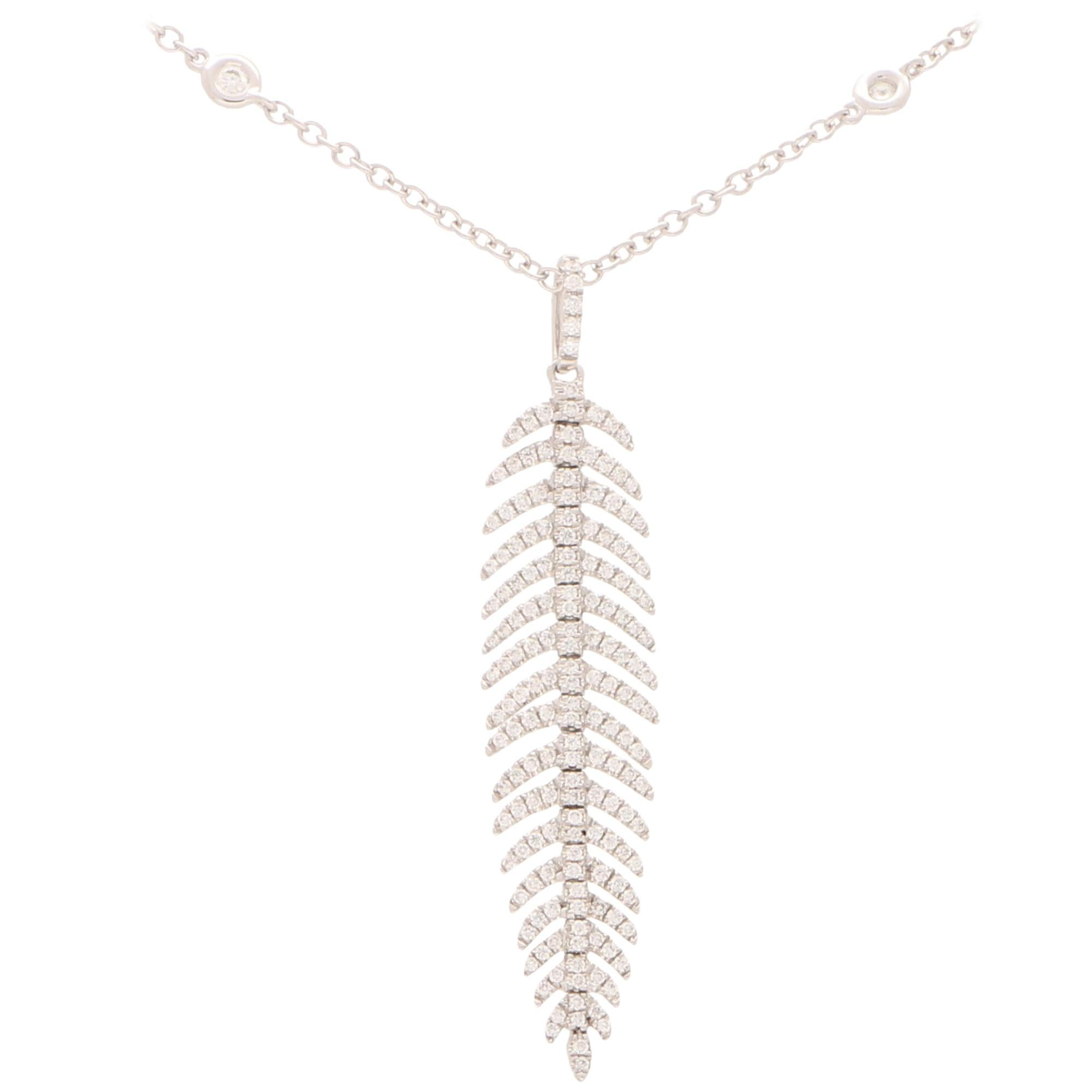Articulated Diamond Feather Necklace in 18 Karat White Gold