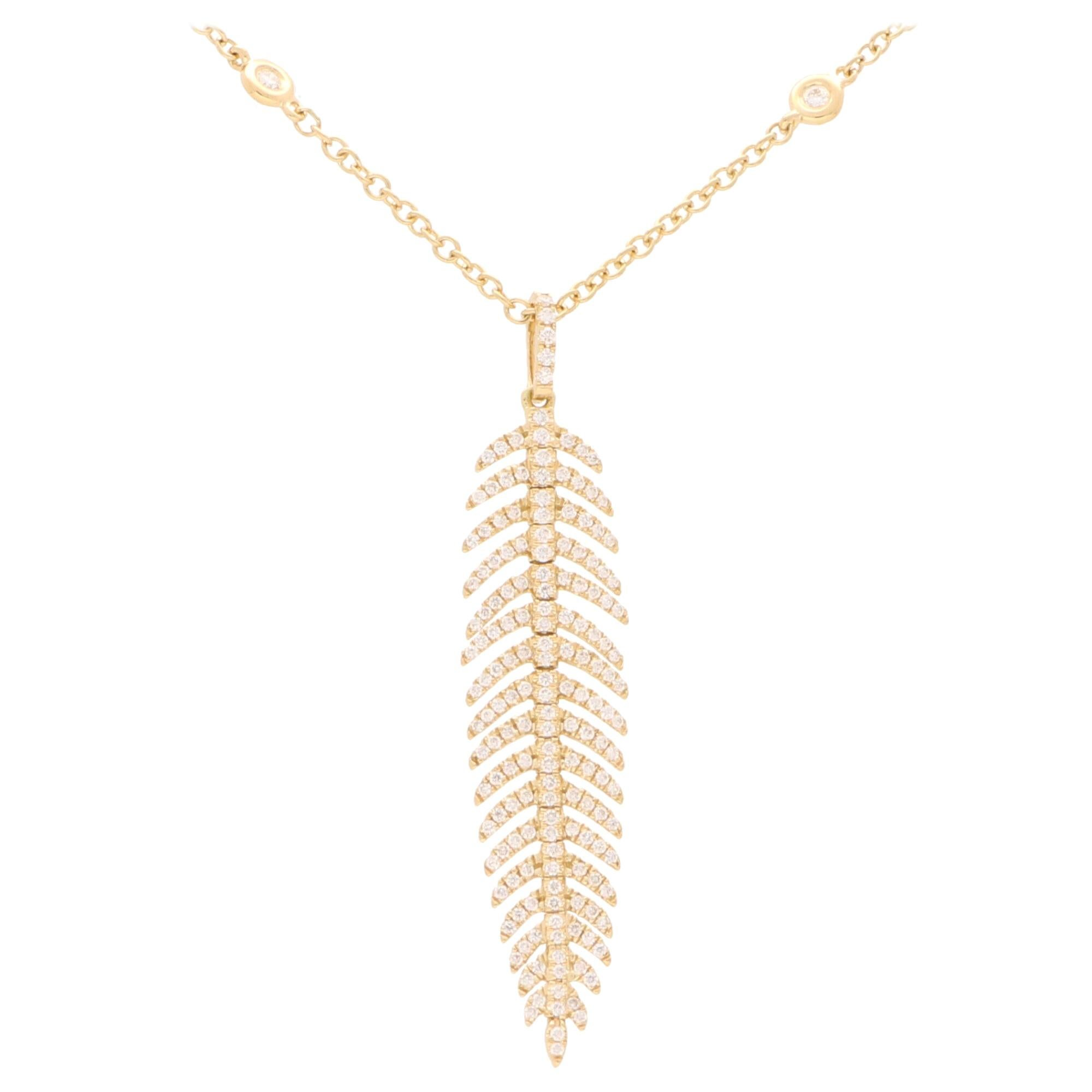 Articulated Diamond Feather Necklace in 18 Karat Yellow Gold