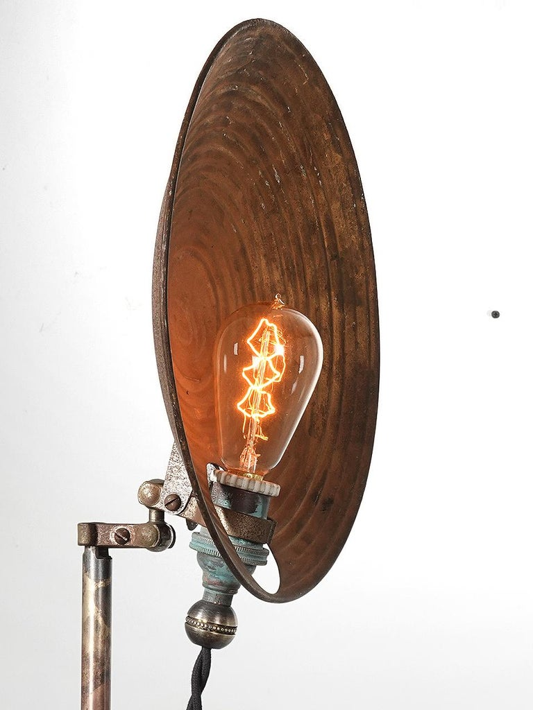 Industrial Articulated Dish Floor Lamp For Sale