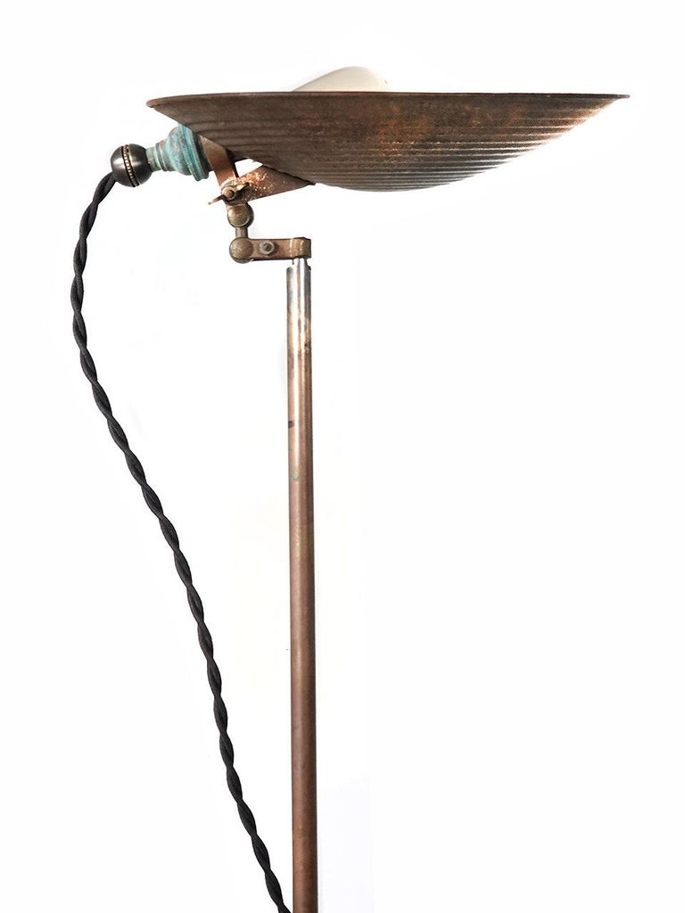 American Articulated Dish Floor Lamp For Sale