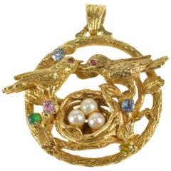 Articulated Gemstone Love Bird Nest Gold Charm/Pendant
