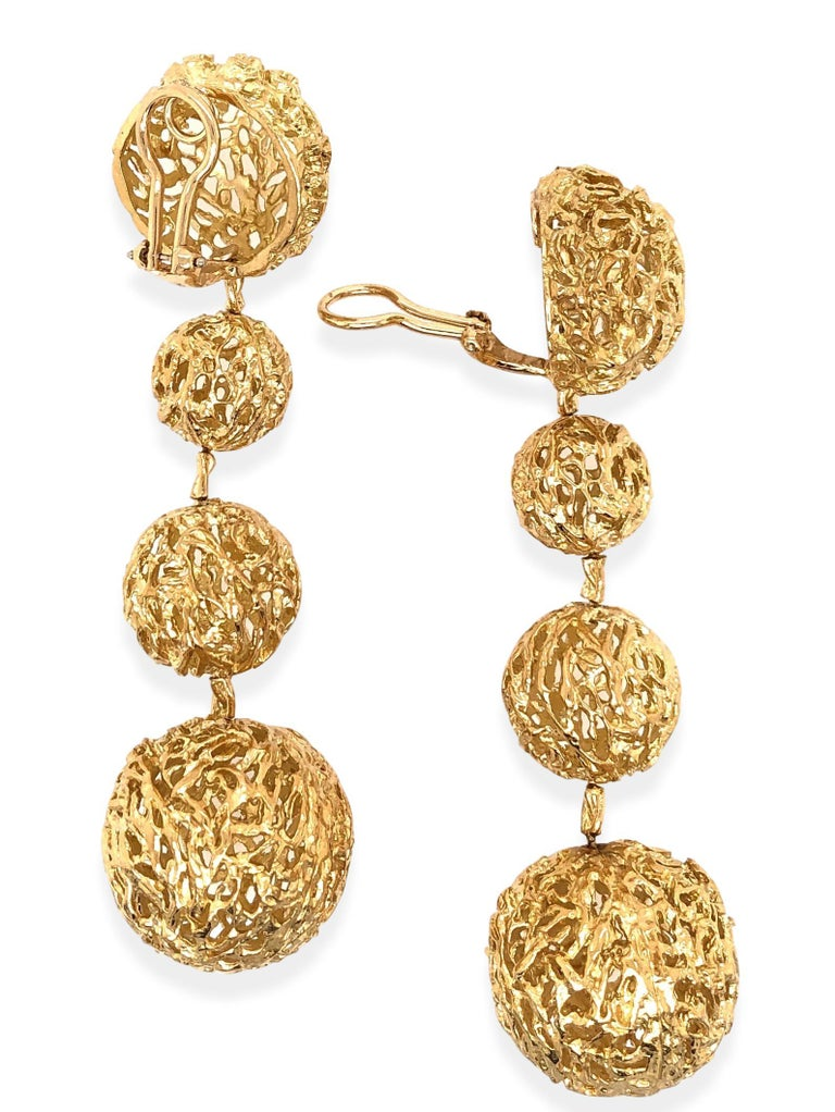 Modernist Articulated Gold 1960s Dangle Ball Earrings For Sale