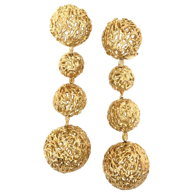 Articulated Gold 1960s Dangle Ball Earrings For Sale