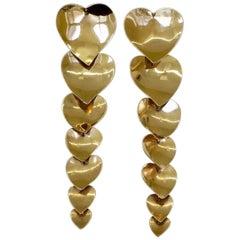 Articulated Heart-Shaped Long Dangle Earrings, 1980s