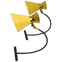 Pair Articulated Table Lamps, Yellow & Black att. to Jean B Lacroix France 1950s
