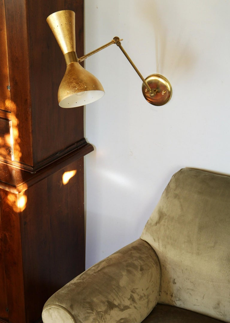 Articulated Sconce Midcentury Modern Stilnovo Style Solid Brass Hand Gilt Shades For Sale 6