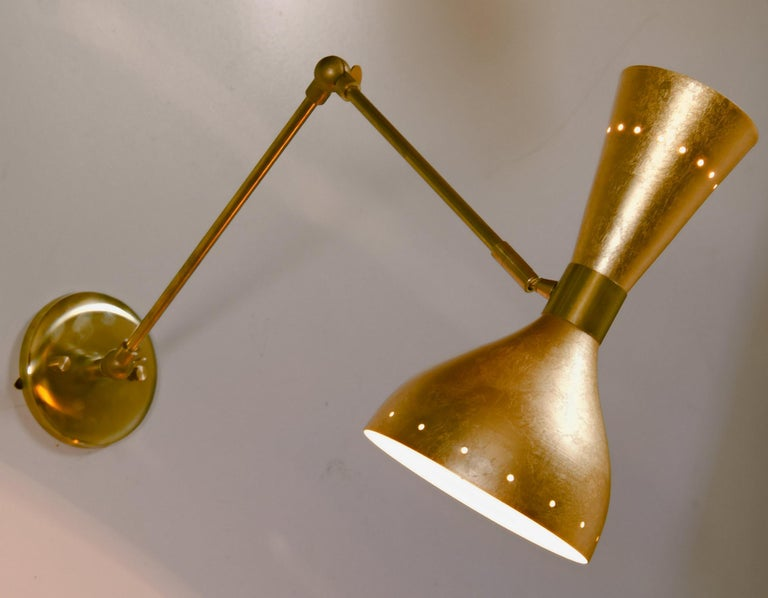 Articulated Sconce Midcentury Modern Stilnovo Style Solid Brass Hand Gilt Shades For Sale 10
