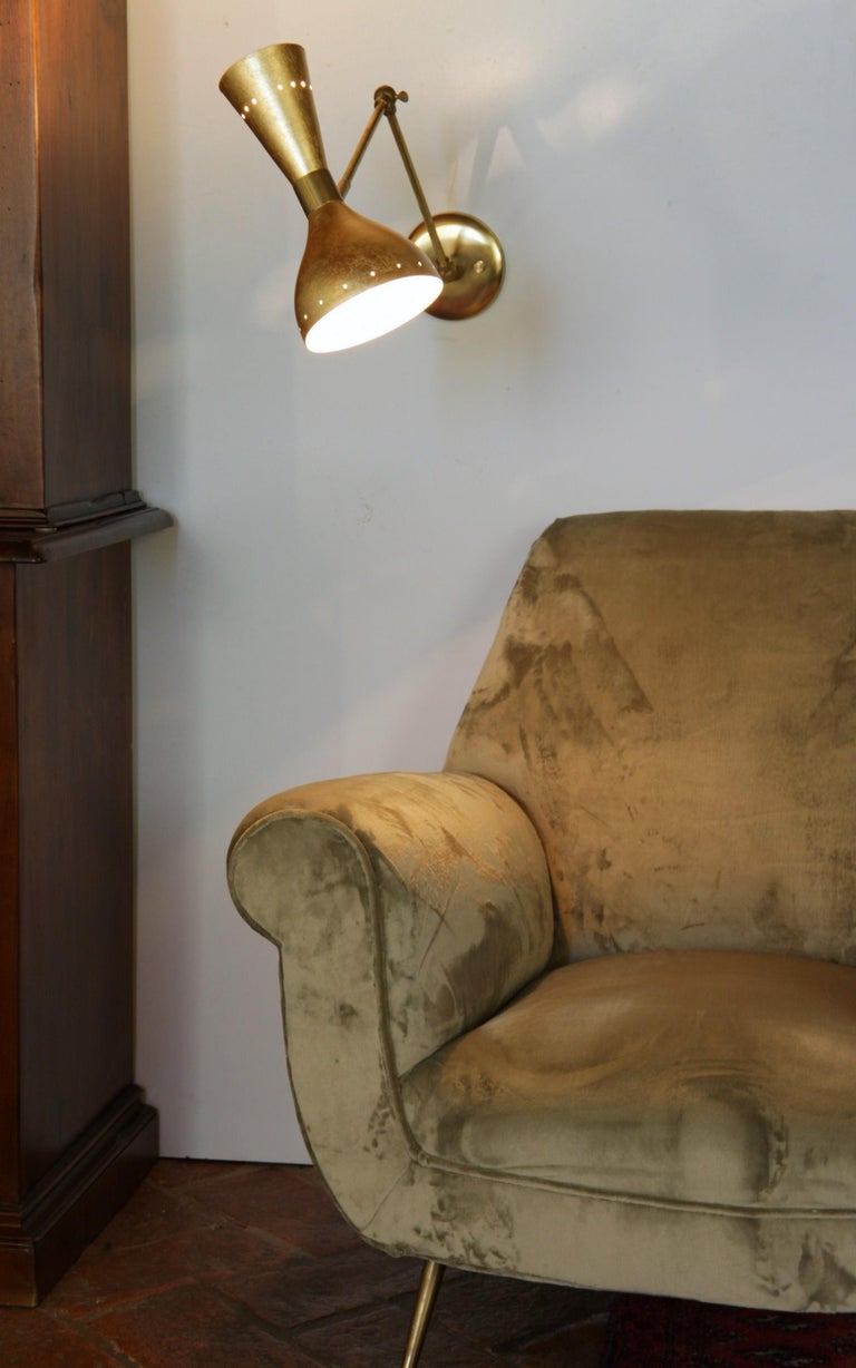 Mid-Century Modern Articulated Sconce Midcentury Modern Stilnovo Style Solid Brass Hand Gilt Shades For Sale