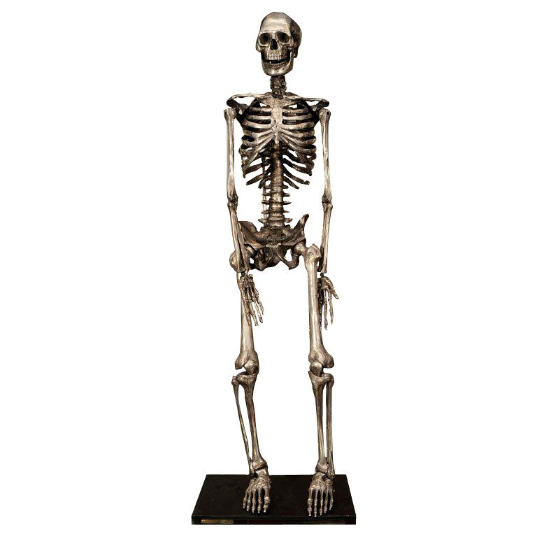 Articulated Silvered Bronze Anatomically Correct Skelton For Sale