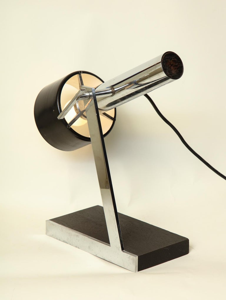 Painted Articulated Table Lamp Architectural Mid-Century Modern shade adjusts Italy 1950 For Sale