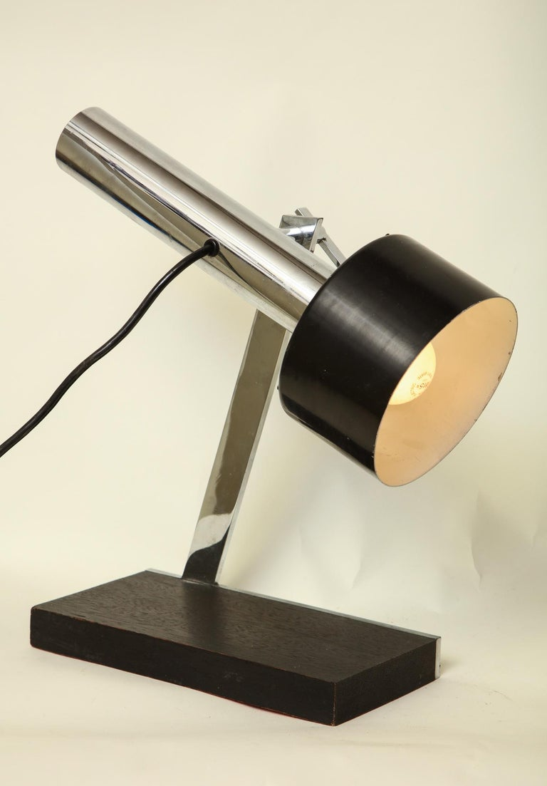 Metal Articulated Table Lamp Architectural Mid-Century Modern shade adjusts Italy 1950 For Sale