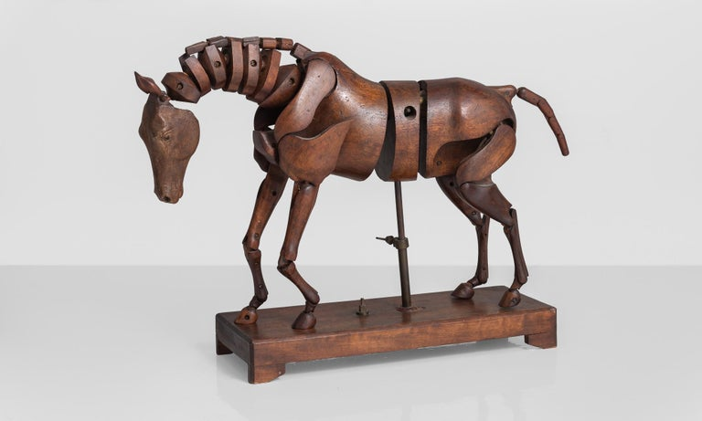 Victorian Articulated Wooden Horse Artist's Model by C. Barbe, England, circa 1830 For Sale