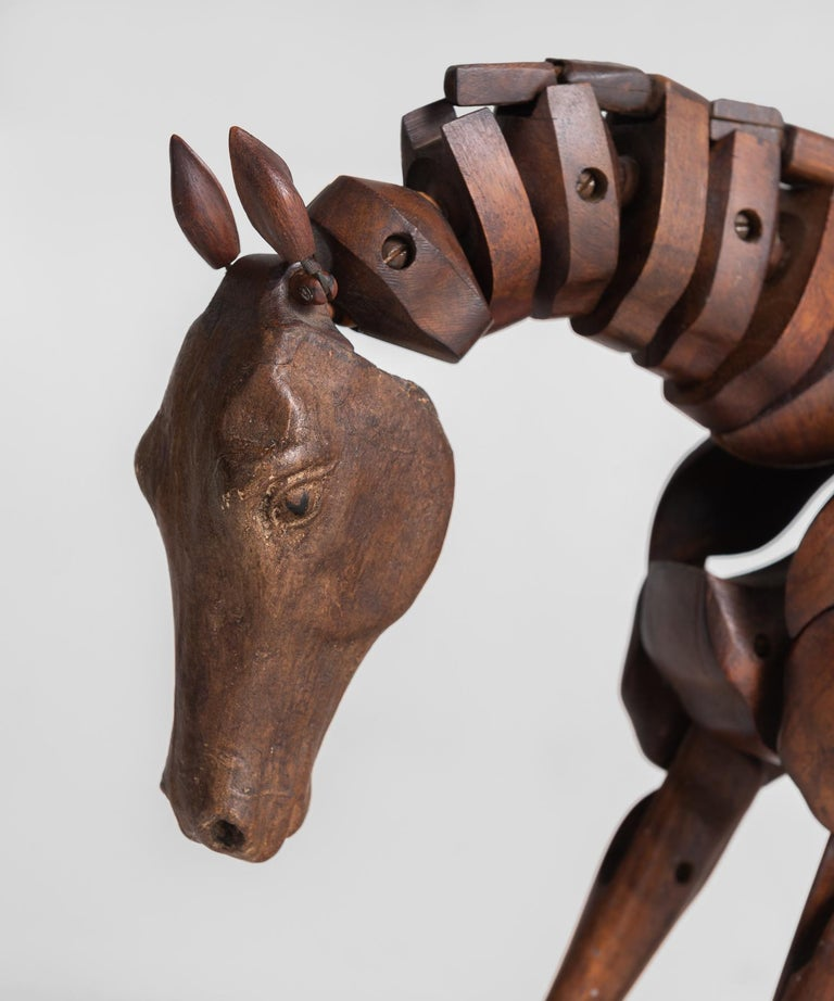 English Articulated Wooden Horse Artist's Model by C. Barbe, England, circa 1830 For Sale