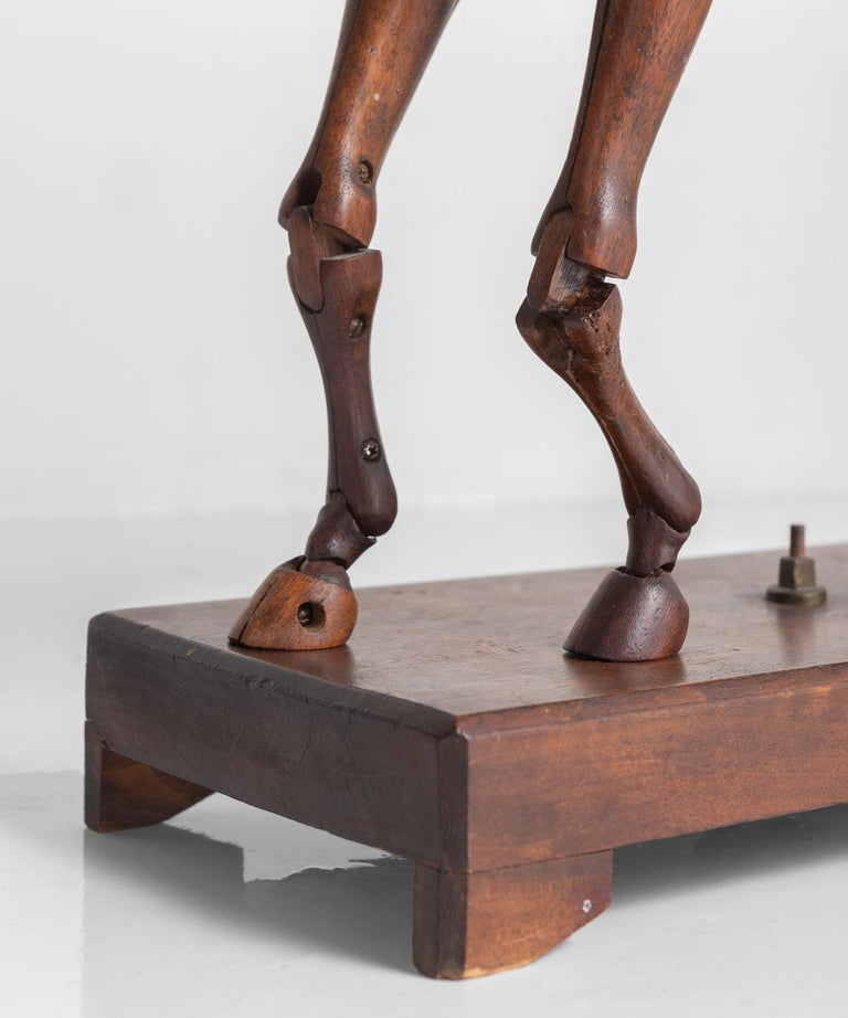 Carved Articulated Wooden Horse Artist's Model by C. Barbe, England, circa 1830 For Sale