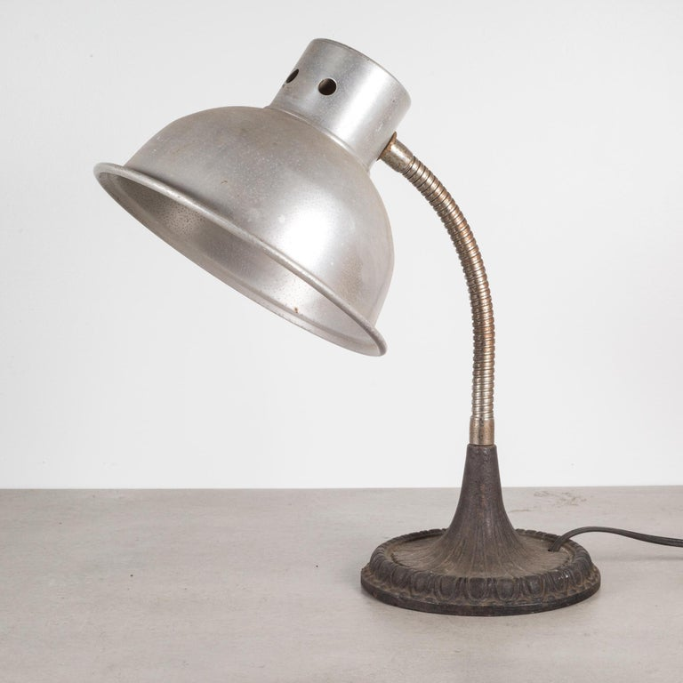 Industrial Articulating Gooseneck Table Lamp with Cast Iron Base c.1930 For Sale