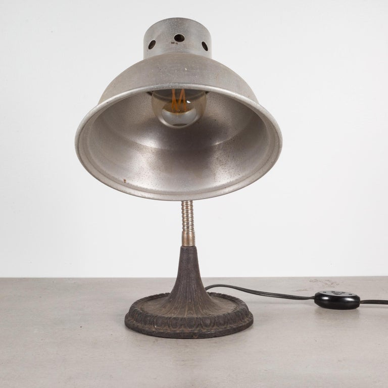 20th Century Articulating Gooseneck Table Lamp with Cast Iron Base c.1930 For Sale