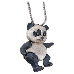 Articulating Panda Bear Pendant Necklace by Napier, circa 1960, Double Signed
