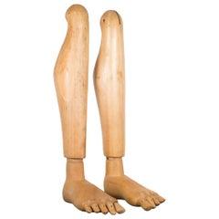Articulating Wooden Mannequin Feet and Legs, circa 1940