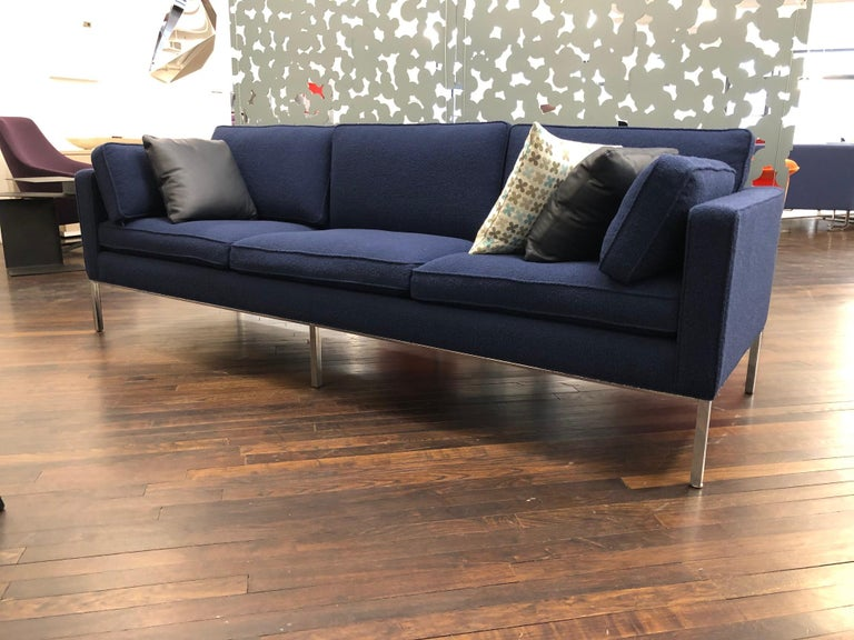 """905/3 seater This design, dating from 1964, is still up to date. As slim and tender as your first love. A classic that is now in production for its second time.  (94.5""""w x 31""""d x 28.5""""h, SH 17"""" Cat. EE Bute Tiree cf650 #4935 Chrome base."""
