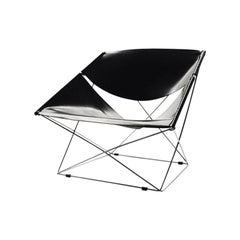 Artifort Butterfly Chair in Black Saddle Leather by Pierre Paulin