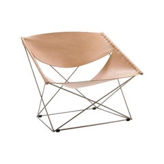 Artifort Butterfly Chair in Natural Saddle Leather by Pierre Paulin