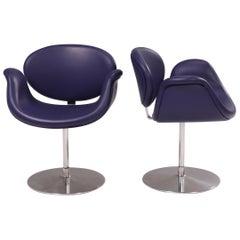 Artifort by Pierre Paulin Purple Little Tulip Swivel Chairs, Set of 2