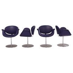 Artifort by Pierre Paulin Purple Little Tulip Swivel Chairs, Set of 4