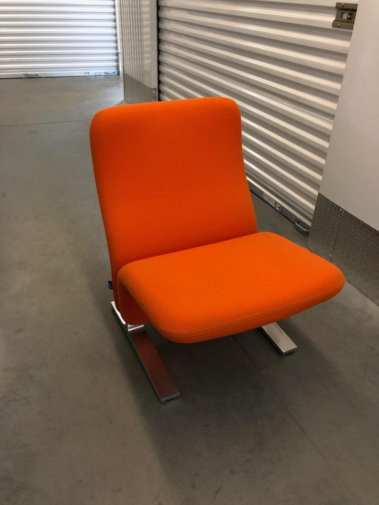 Mid-20th Century Artifort Classic Orange Low Back Concorde Chair by Pierre Paulin For Sale
