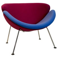 Artifort F437 Orange Slice Chair in Pink and Blue by Pierre Paulin