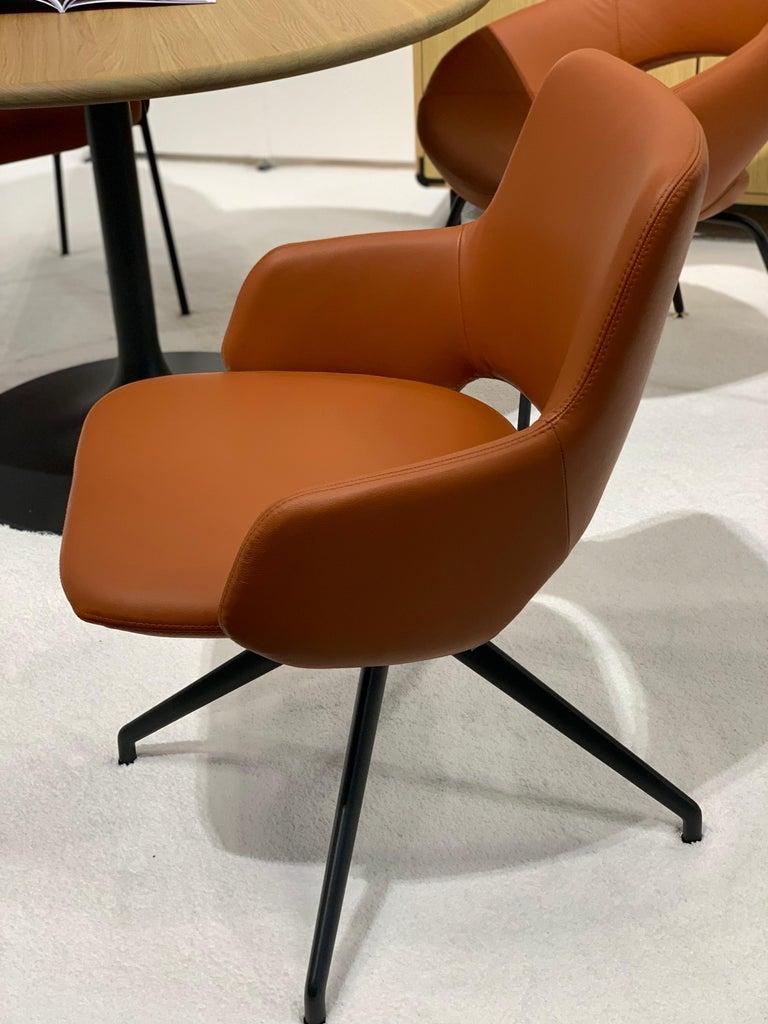 Artifort Jima Leather Swivel Armchair by Patrick Norguet