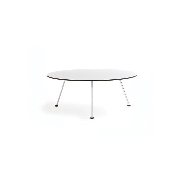 Orange Slice table was especially designed as a table with the fauteuil. The Orange Slice table is available in two sizes. The base is either chrome or powder coat. The tabletop is compact with a black, white or oak veneered top.  Base: Legs steel
