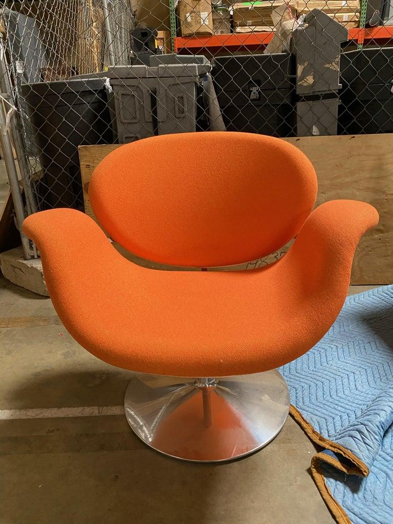 Dutch Artifort Pierre Paulin Swivel Orange Tulip Midi Lounge Chair For Sale