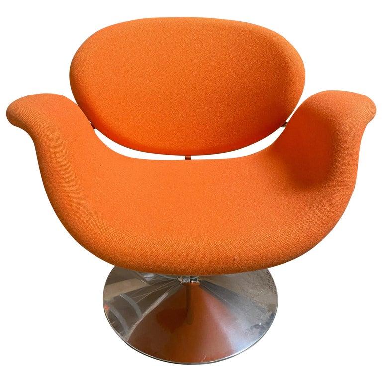 Artifort Pierre Paulin Swivel Orange Tulip Midi Lounge Chair For Sale