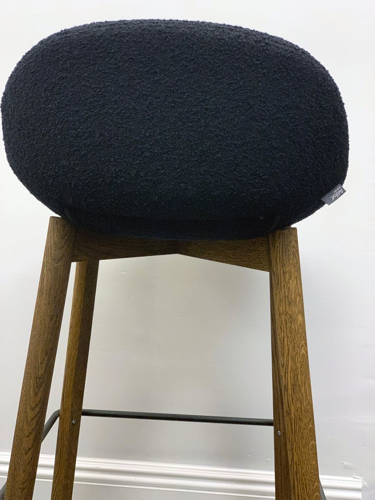 Contemporary Artifort Set of Three Black Beso Barstools with Wood Legs by Khodi Feiz For Sale