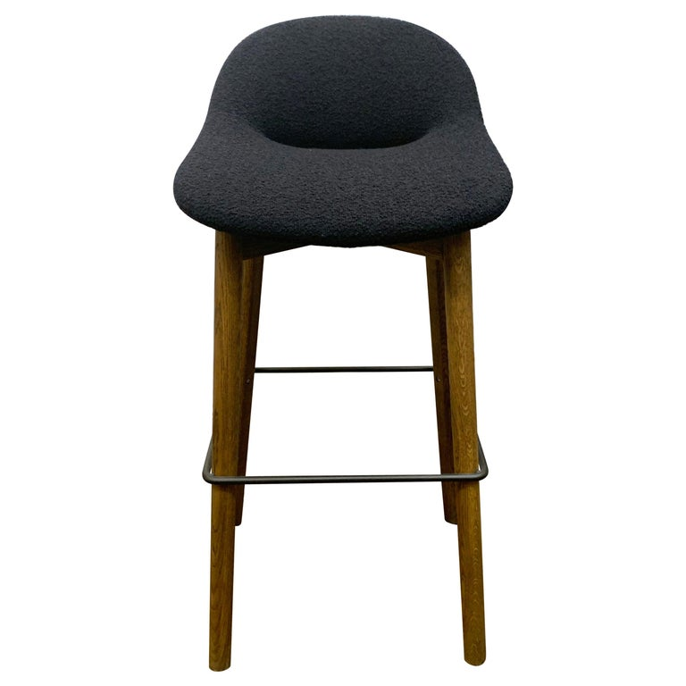 Artifort Set of Three Black Beso Barstools with Wood Legs by Khodi Feiz For Sale