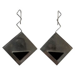 Artiginal 1980s Sterling Silver & Onyx Geometric Pendant Earrings