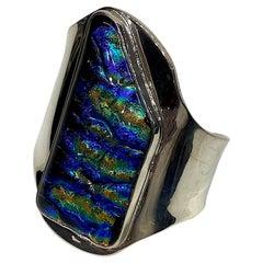 Artiginal Abstract Sterling Silver Cuff Bracelet with Art Glass