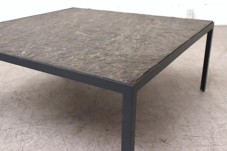Late 20th Century Artimeta Style Sleek Square Stone Coffee Table For Sale