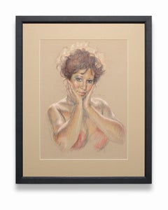"""""""Aretha Franklin"""", Female Portrait, Oil and Pastel on Paper"""
