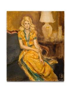 """Baby Jane Holzer""  Female Portrait, Golden & Green Colors, Celebrity, Intimate"